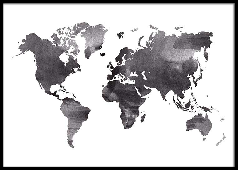 WORLD MAP BLACK WATER COLOR POSTER – Postersprints