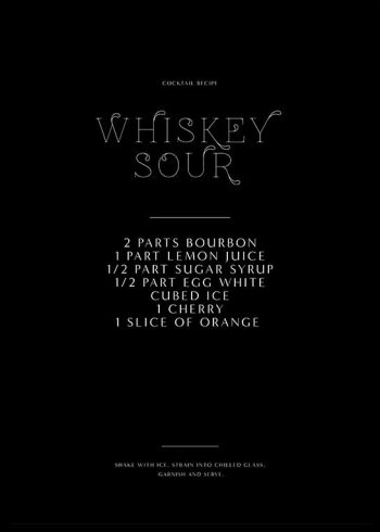 WHISKEY SOUR RECIPE POSTER