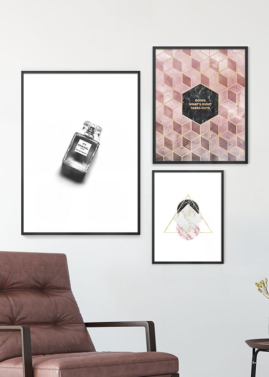 CHANEL NO. 5, DOING WHATS RIGHT & METALLIC MARBLE POSTERS