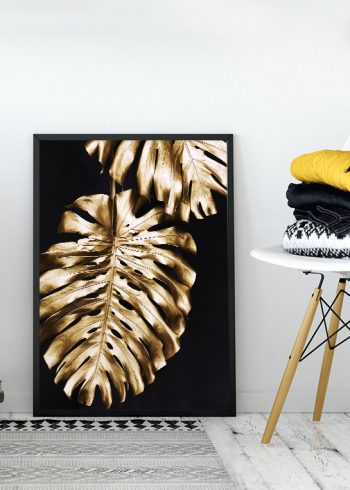 GOLDEN MONSTERA LEAVES POSTER