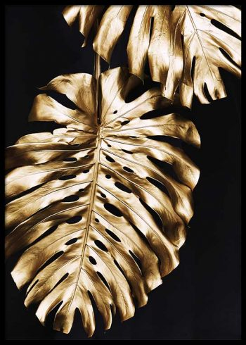 GOLD MONSTERA LEAVES POSTER