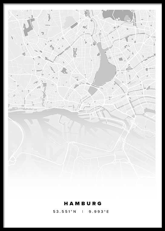 hamburg stadtplan poster postersprints. Black Bedroom Furniture Sets. Home Design Ideas